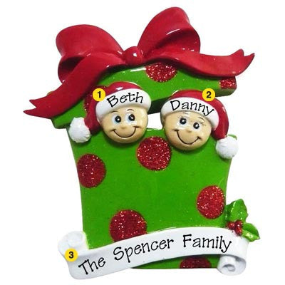 Personalized Christmas Ornament-Present/Gift Family (Family of 2, 3, 4, 5, or 6)