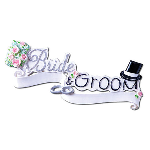 "Personalized Christmas Ornament-""Bride & Groom"""