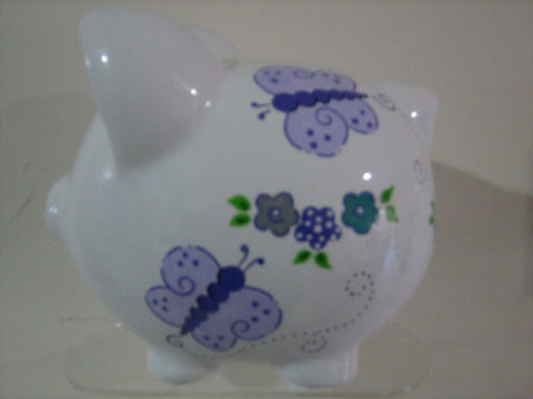 Personalized Piggy Bank-Purple Butterflies