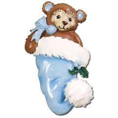 Personalized Christmas Ornament-Baby Bear In Santa Hat