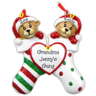 Personalized Christmas Ornament-Bear Family (Family of 2, 4, 5, or 6)