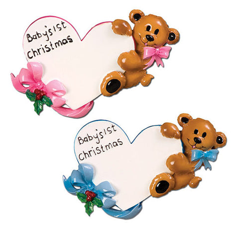 Personalized Christmas Ornament-Baby Bear's 1st Christmas Ornament (With Heart)