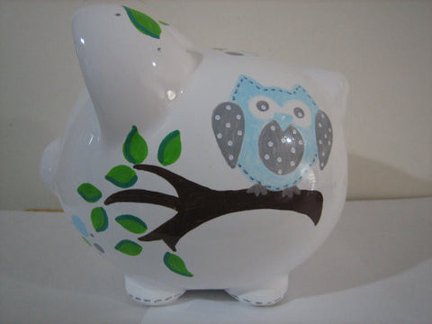 Personalized Piggy Bank-Blue & Gray Owl