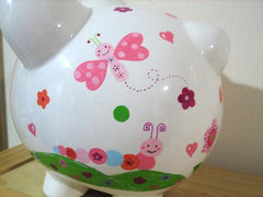 Personalized Piggy Bank-Butterflies & Caterpillars