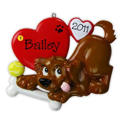 Personalized Christmas Ornament-Puppy Dog with Bone Ornament
