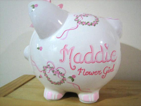 Personalized Piggy Bank-Flower Girl