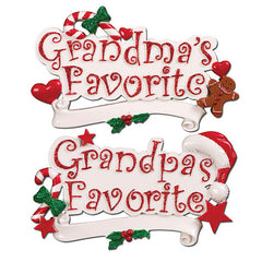 "Personalized Christmas Ornament-""Grandma's Favorite""/""Grandpa's Favorite"""