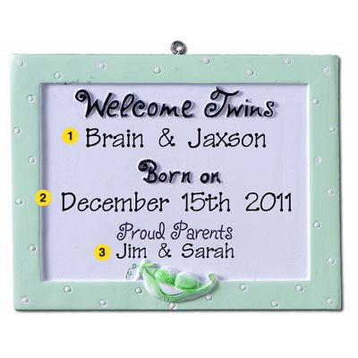 Personalized Christmas Ornament-Twins' Birth Announcement