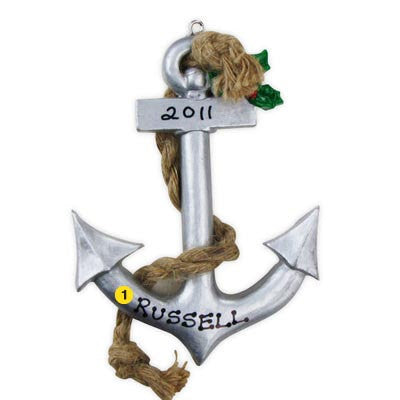 Personalized Christmas Ornament-Ship's Anchor Ornament
