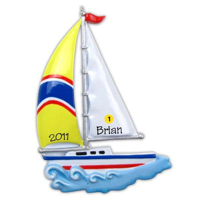Personalized Christmas Ornament-Sailboat Ornament