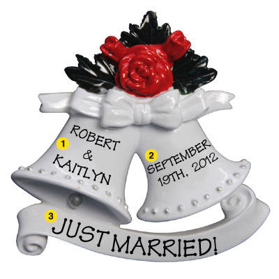 Personalized Christmas Ornament-Wedding Bells Couple/Newlyweds Ornament