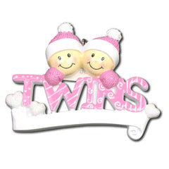 Personalized Christmas Ornament- (Girl) Twins Ornament