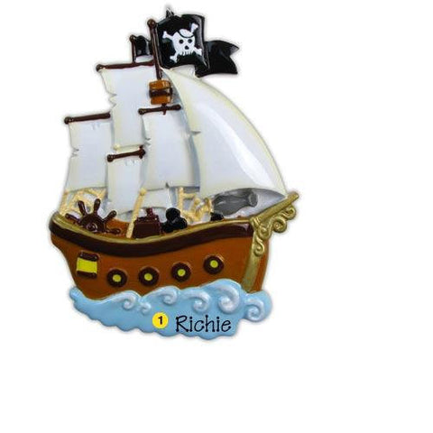 Personalized Christmas Ornament-Pirate Ship Ornament