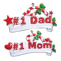"Personalized Christmas Ornament-""#1 Dad""/""#1 Mom"""
