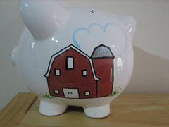 Personalized Piggy Bank-Farm Scene