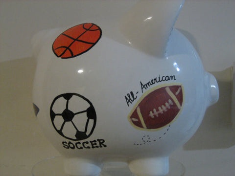 Personalized Piggy Bank-Little League Sports