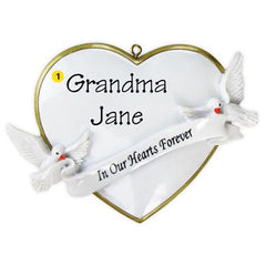 "Personalized Christmas Ornament-""In Loving Memory Of"" Heart Memorial Ornament"
