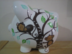 Personalized Piggy Bank-Monkeys