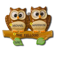 Personalized Christmas Ornament- Owl Family Ornament (Family of 2, 3, 4, 5, or 6)