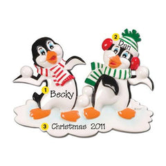 Personalized Christmas Ornament-Penguin Snowball Fight Ornament