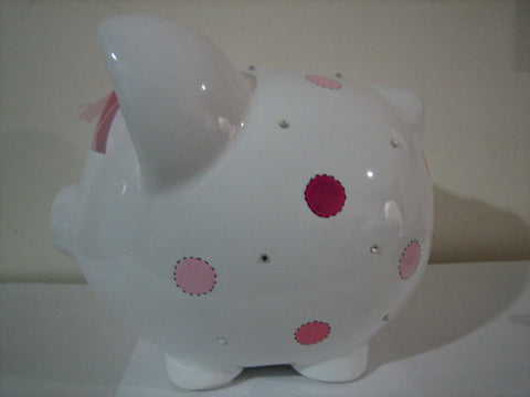 Personalized Piggy Bank-Pink Polka Dots