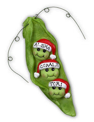 Personalized Christmas Ornament- Pea Pod Family Ornament (Family of 3, 4, 5, 7 or 9)