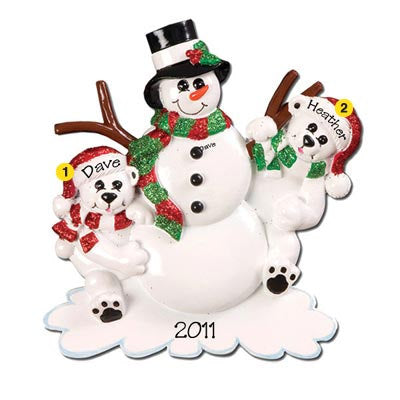 Personalized Christmas Table Topper-Snowman Family (Family of 3, 4, or 5)