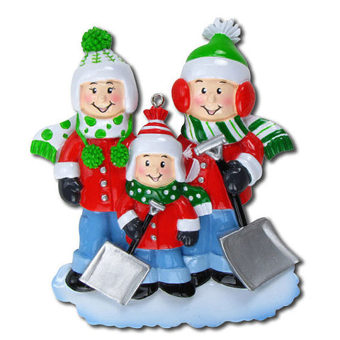 Personalized Christmas Ornament-Snow Shovel Family Ornament-Family of 3, 4, 5, or 6