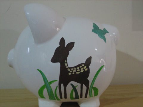 Personalized Piggy Bank-Animals In The Forest