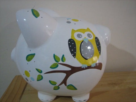 Personalized Piggy Bank-Yellow & Gray Owl