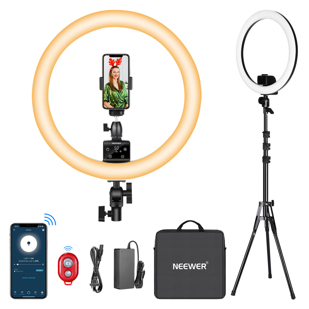 Neewer APP Control 16-inch LED Ring Light, Works with Alexa, with LCD Screen, Multiple Lights Control