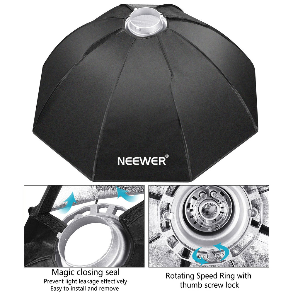 "Neewer 30""x30"" / 80cmX80cm Octagon Umbrella Speedlite Softbox with Bowens Mount Speedring - neewer.com"