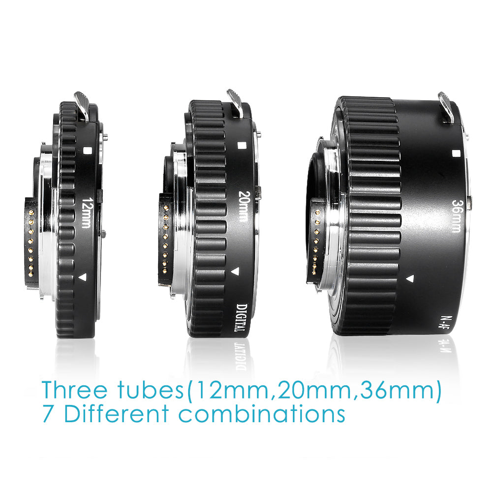 Neewer 12mm, 20mm, 36mm Metal Auto Focus Extension Tube Set for Nikon
