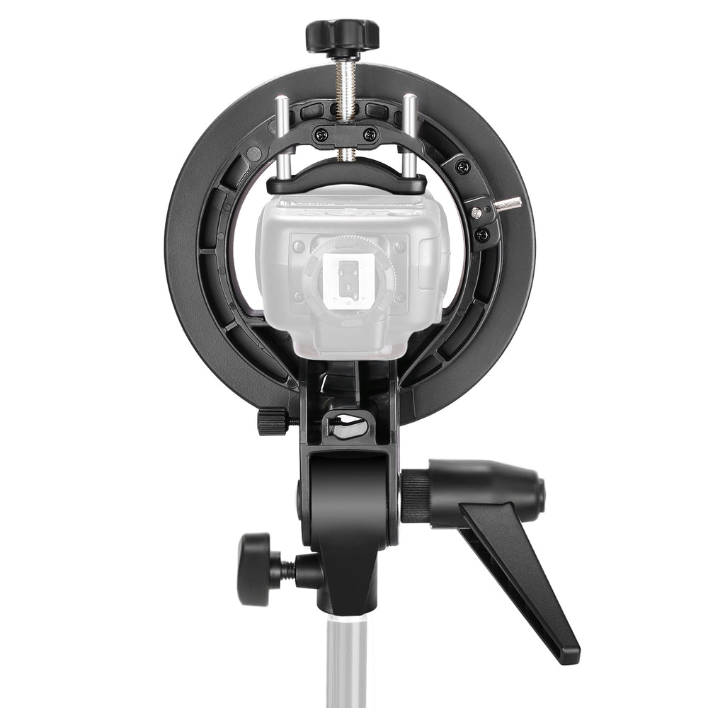 Neewer S-Type Bracket Holder with Bowens Mount for Speedlite Flash Snoot Softbox Beauty dish Reflector Umbrella - neewer.com