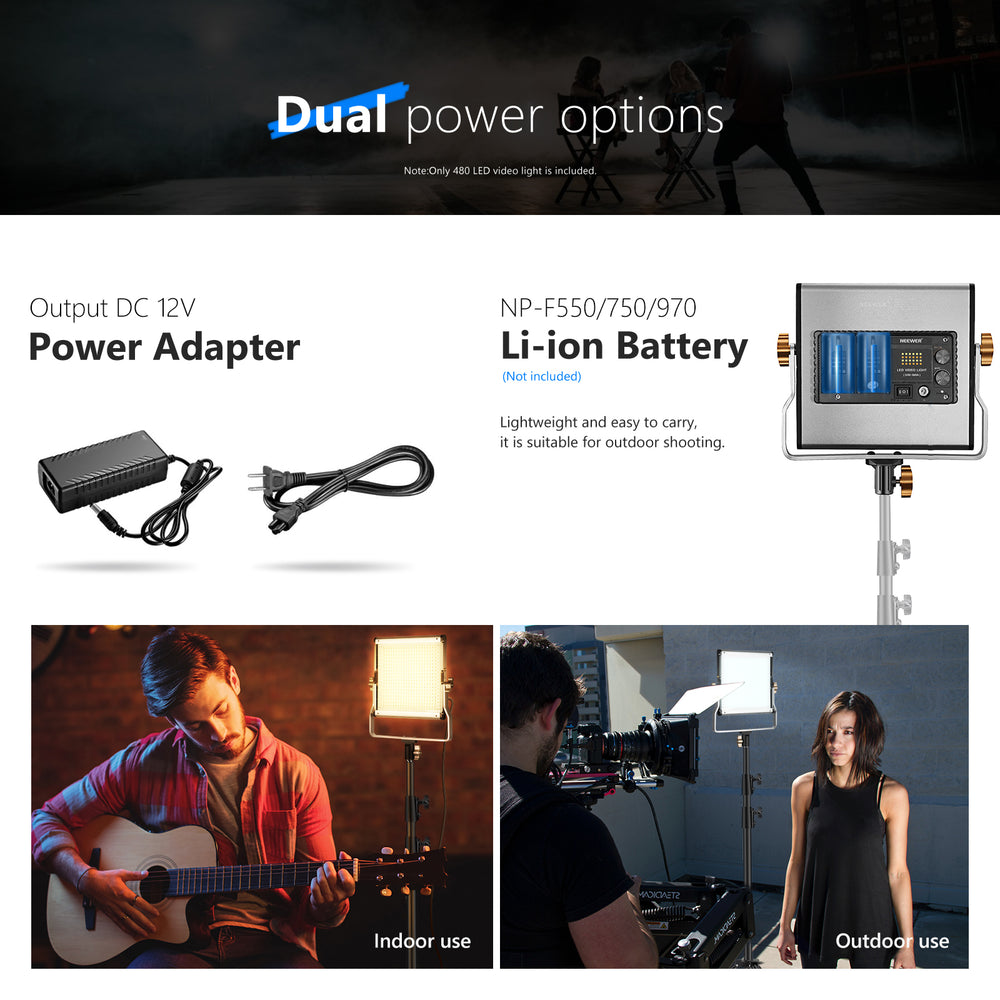 Neewer Dimmable Bi-Color 480 LED Video Lighting Panel with U Bracket - neewer.com