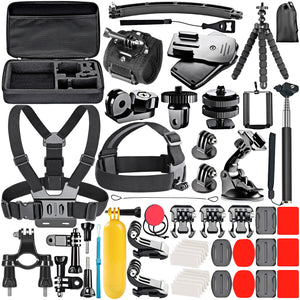 Neewer 53-In-1 Action Camera Accessory Kit for GoPro Hero Session/5 Hero 7 6 5 4 3+ 3 2 1 SJ4000 5000 6000 DBPOWER AKASO VicTsing APEMAN WiMiUS Rollei QUMOX and More