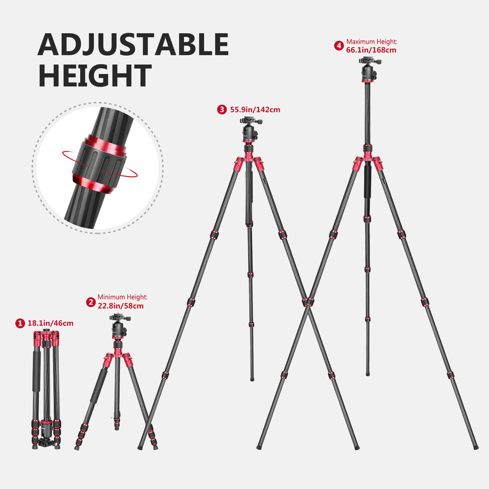"Neewer Carbon Fiber 63""/160cm Tripod Monopod with carrying Bag - neewer.com"
