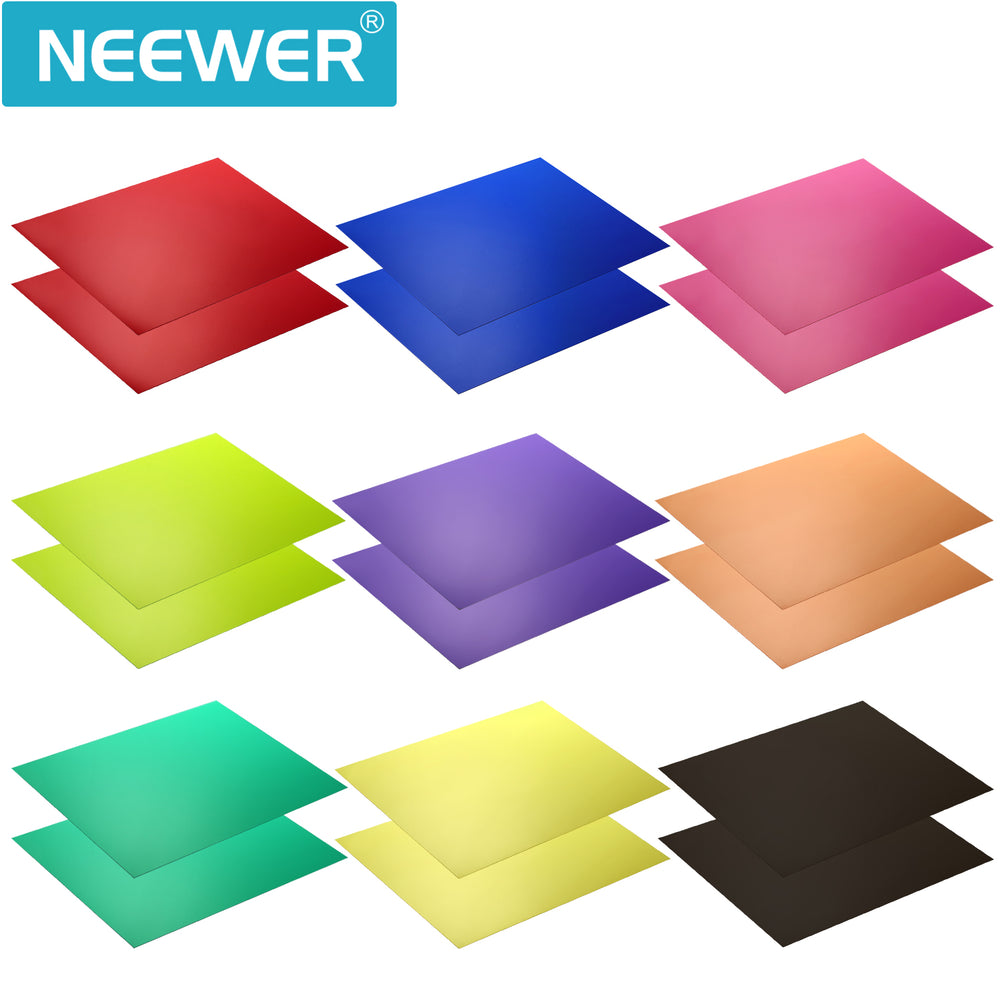 Neewer Correction Gel Light Filter Transparent Color 12x8.5 inches/30x20 centimeters 18 Sheet with 9 Colors
