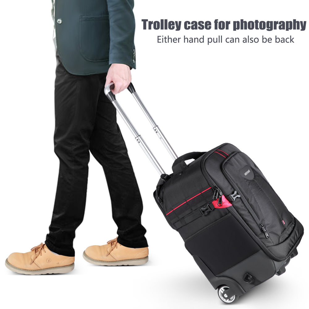 Neewer 2-in-1 Rolling Camera Backpack Trolley Case-Anti-Shock Detachable Padded Compartment,Durable,Waterproof for Camera,Tripod,Flash Light,Lens,Laptop - neewer.com