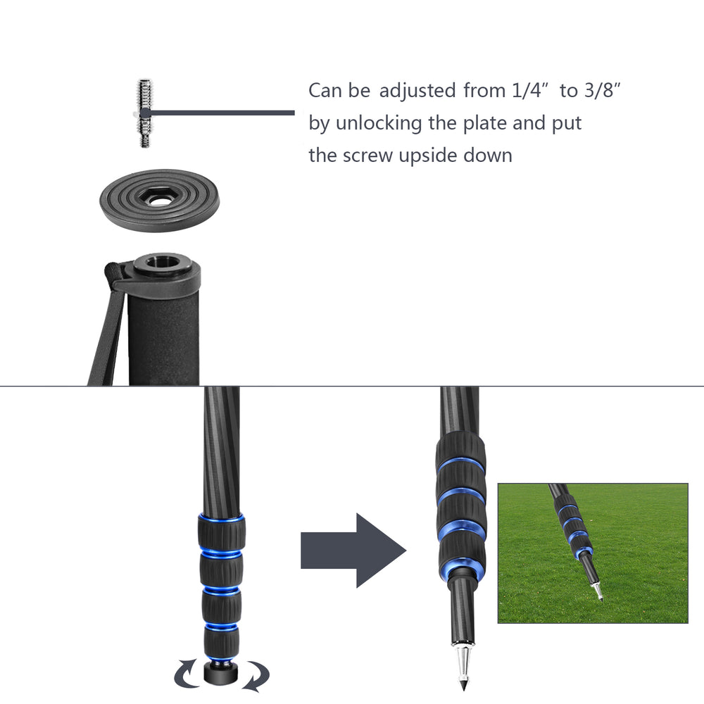 Neewer Carbon Fiber Monopod with Carrying Bag(Black + Blue) - neewer.com