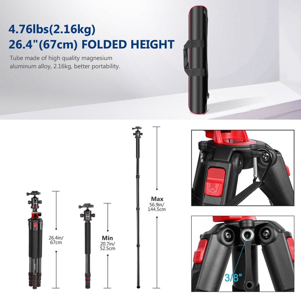 Neewer 75''/191CM Carbon Fiber Camera Tripod Monopod with Carrying Bag
