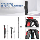 Neewer 75''/191CM Carbon Fiber/Aluminium Alloy Camera Tripod Monopod with Carrying Bag