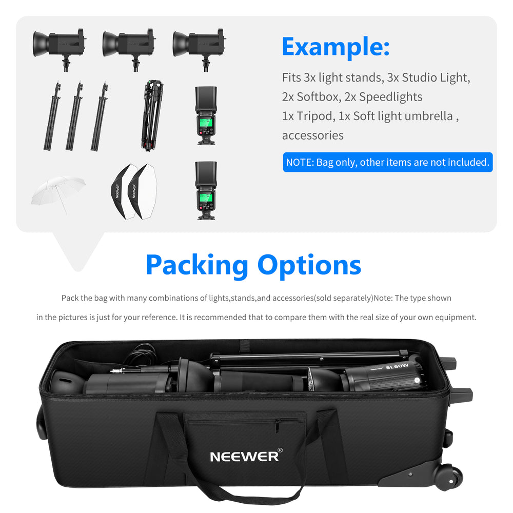 "Neewer 40.1""x11.8""x11.8""/102x30x30cm Rolling Bag for Light Stand,etc - neewer.com"
