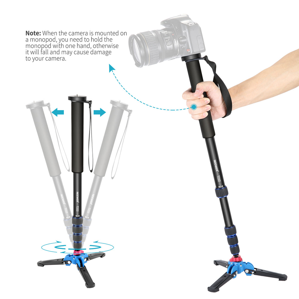 Neewer Extendable Camera Monopod with Foldable Tripod Support Base - neewer.com
