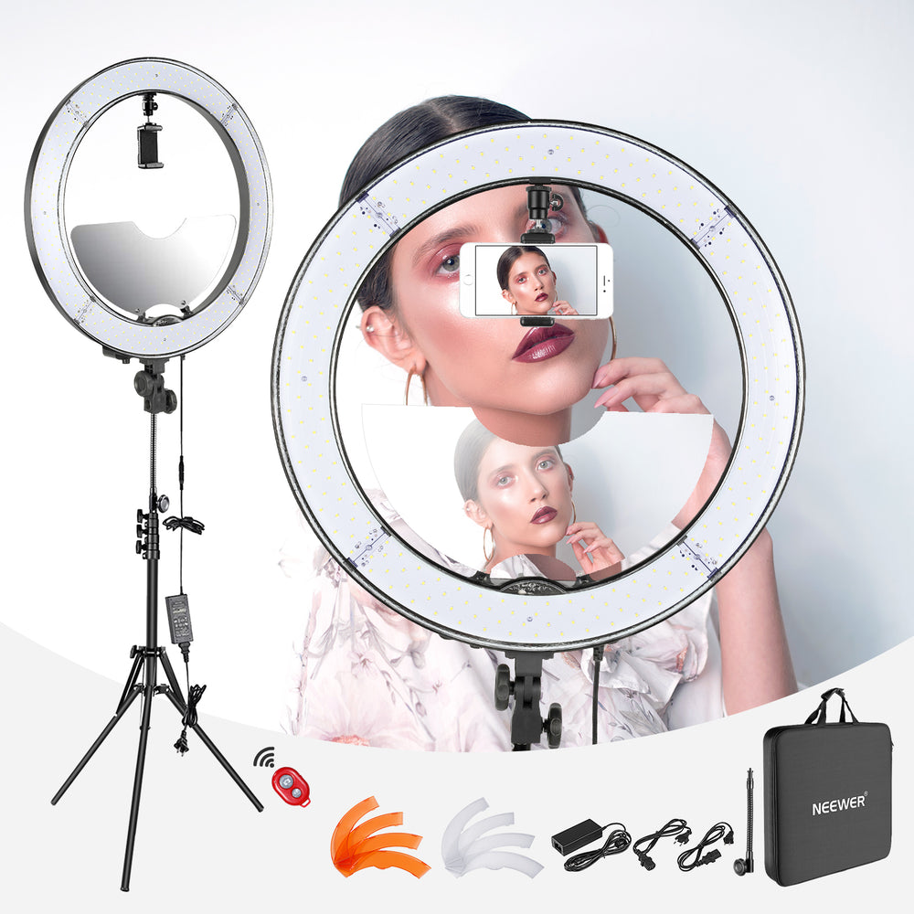 "Neewer 18"" Dimmable LED Ring Light with Light Stand and Mirror - neewer.com"