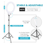 "Neewer 18"" White Dimmable Bi-color LED Ring Light and Stand Kit - neewer.com"