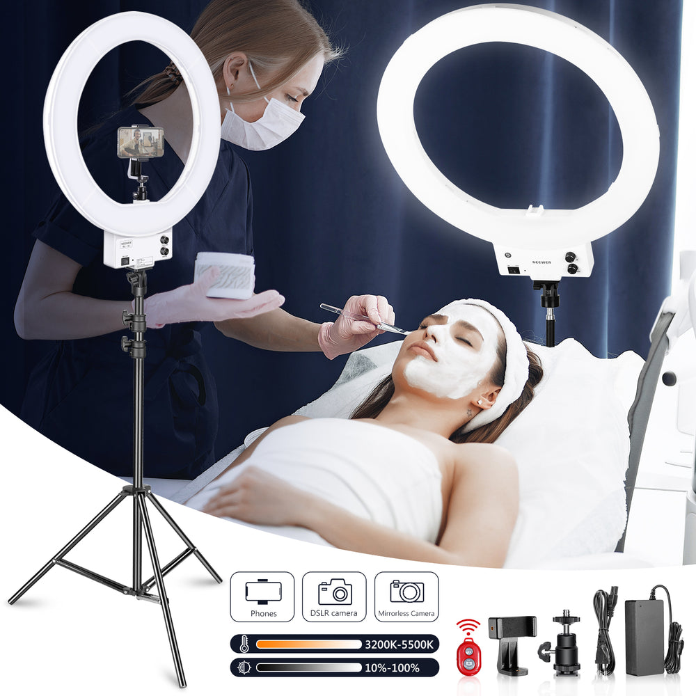 "Neewer 18"" White Dimmable Bi-color LED Ring Light and Stand Kit"
