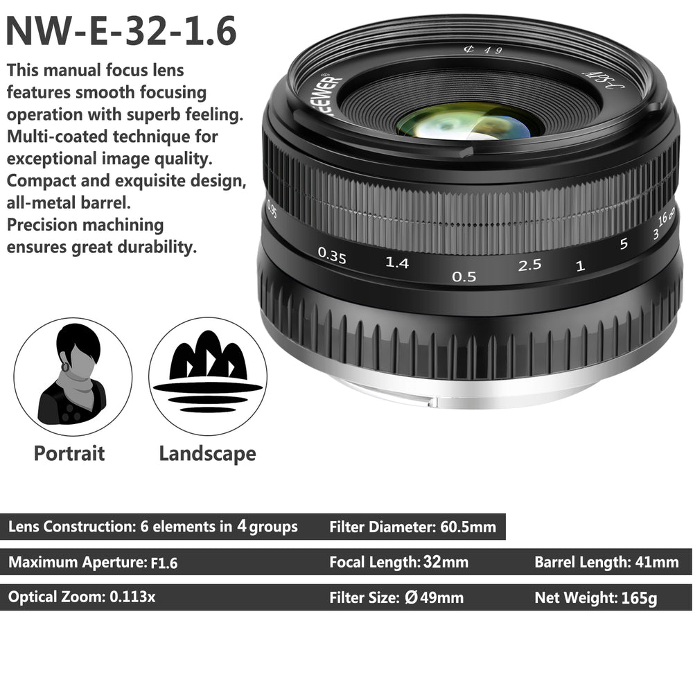 Neewer 32mm F/1.6 Sharp High Aperture Manual Focus Prime Lens for Sony - neewer.com