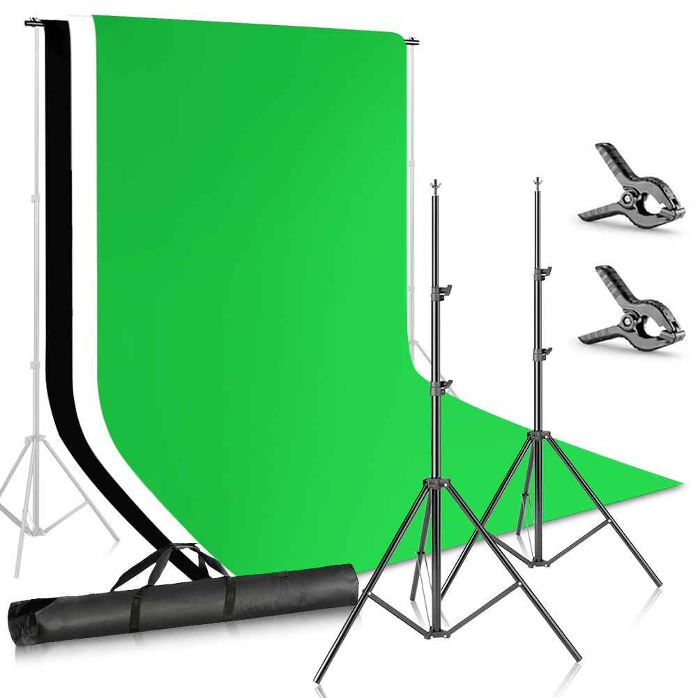 ZUOCHEN Backdrop Stand 6.6x9.8ft//2x3m Background Stand 6.6x6.6ft//2x2m Photography T-Shape Background Stand Backdrop Support System Kit with 5.9x9.2ft Green Backdrop 7 Clip Carry Bag for Photo Video