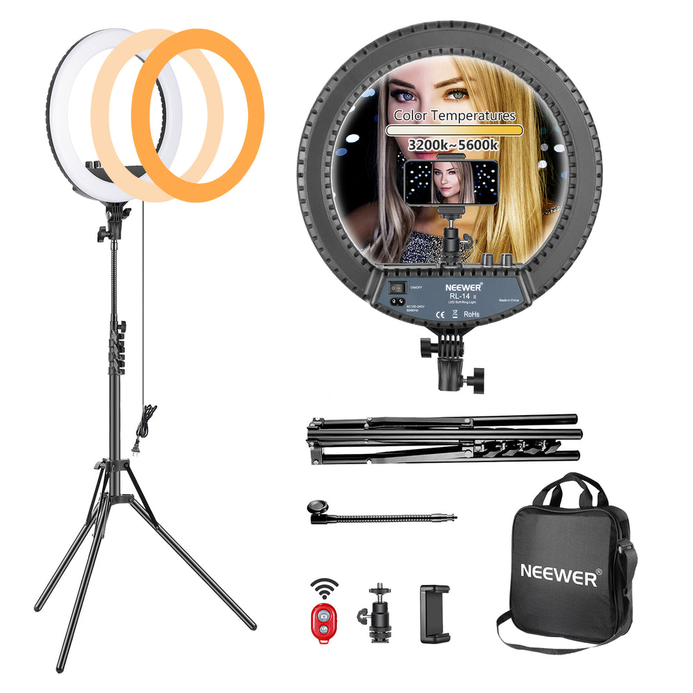 "Neewer 14"" Dimmable Bi-color Ring Light and Stand Kit with Carrying Bag - neewer.com"